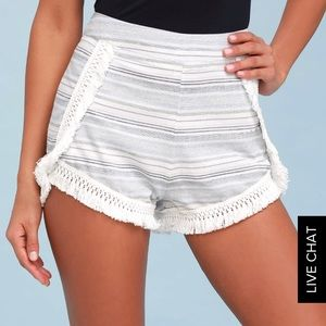 Lulus savvy blue and white striped shorts essue